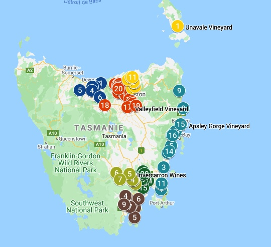 Tasmanian Vineyards Map